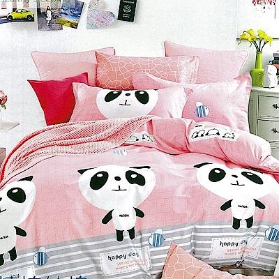 La Lune 百分百精梳純棉40支纱舖棉兩用被雙人床包組-DL-愛戀粉熊