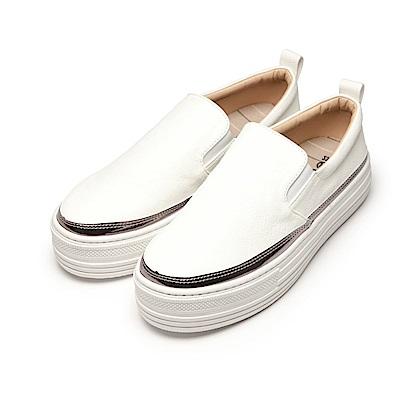 BuyGlasses 厚底低調皮質懶人鞋-白