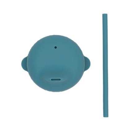澳洲We Might Be Tiny 動物矽膠杯套吸管組-孔雀藍
