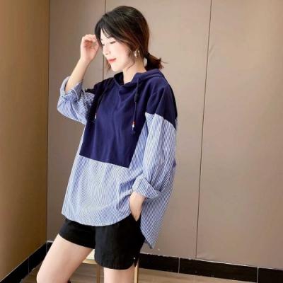 La Belleza假兩件藍色連帽拼接藍色條紋袖子下擺背排釦襯衫上衣