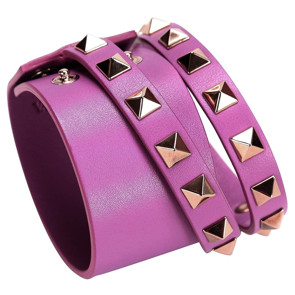 VALENTINO ROCKSTUD 鉚釘小牛皮手環(桃紫色)