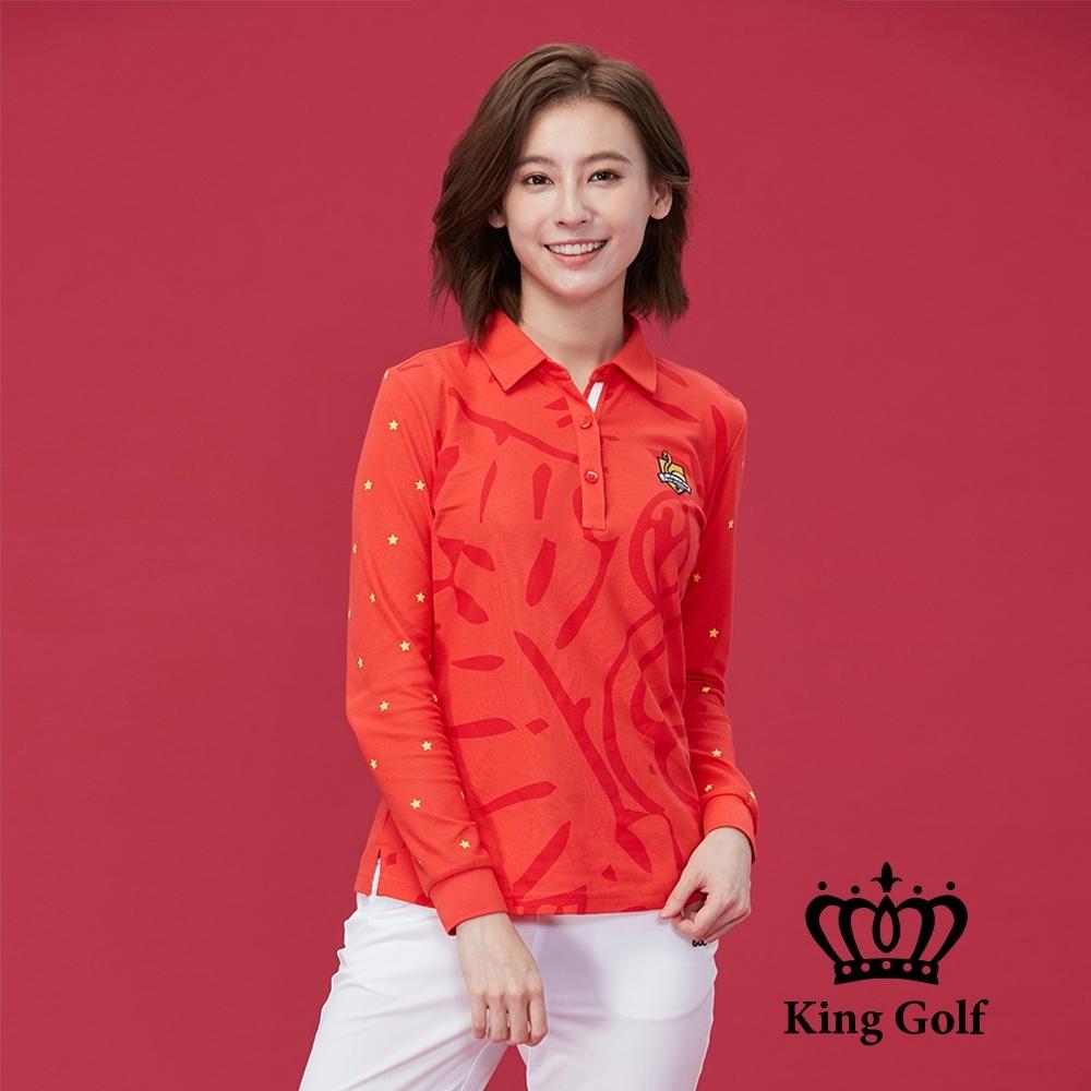 【KING GOLF】壓紋印花立體刺繡棉料薄款羅紋長袖POLO衫-紅色