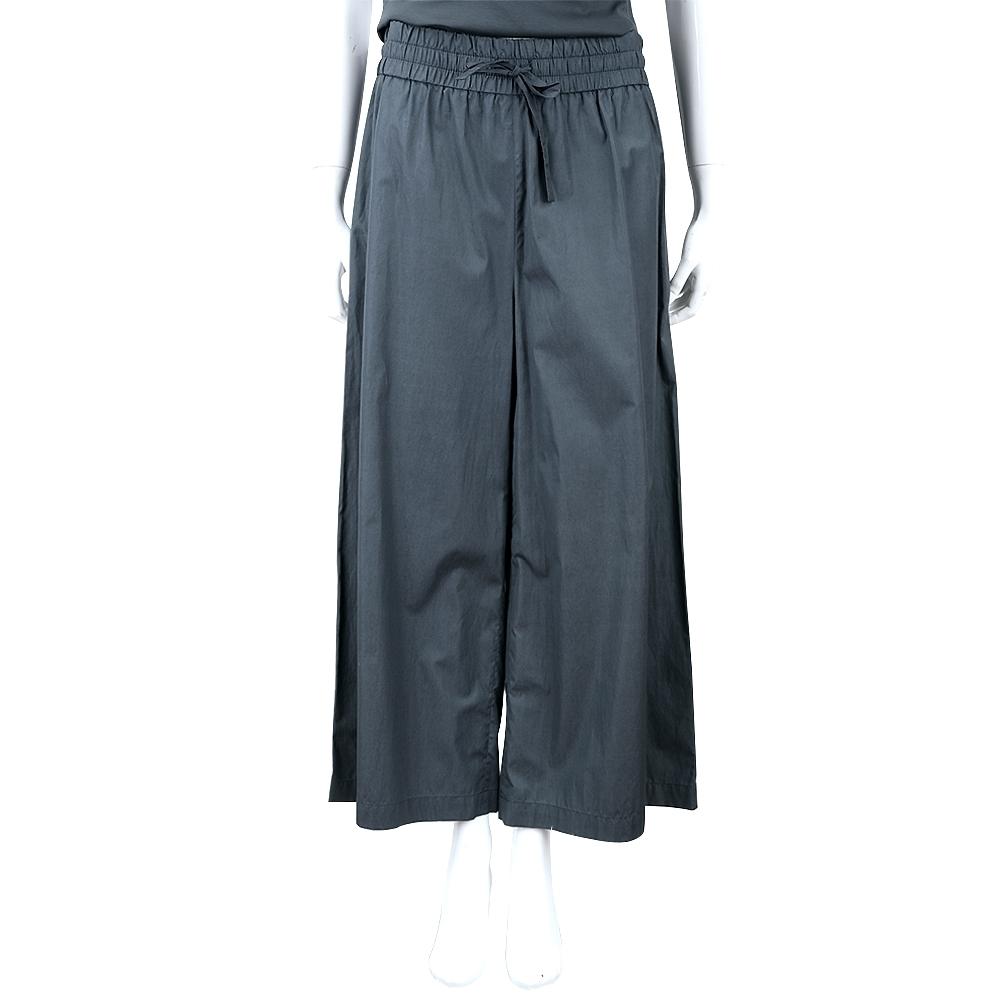 Max Mara-WEEKEND 深藍素面抽繩綁帶寬褲