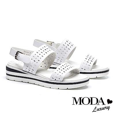 涼鞋 MODA Luxury 率性沖孔撞色底台設計牛皮厚底涼鞋-白