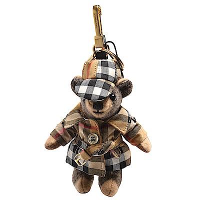 BURBERRY 經典Vintag格紋風衣造型Thomas泰迪熊鑰匙圈/吊飾(駝色)