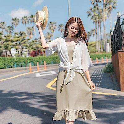 兩件式蕾絲雪紡罩衫x荷葉裙襬拼接細肩帶長洋裝-OB大尺碼