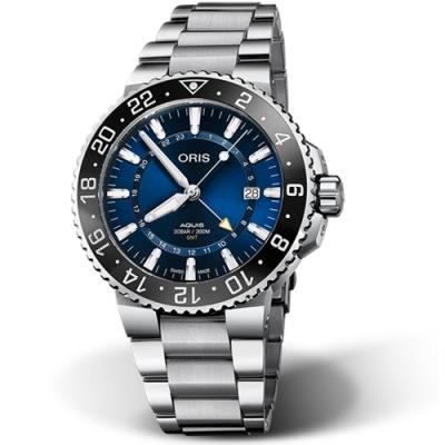 Oris 豪利時Oris Aquis 時間之海GMT雙時鍊帶款x藍x43.5mm