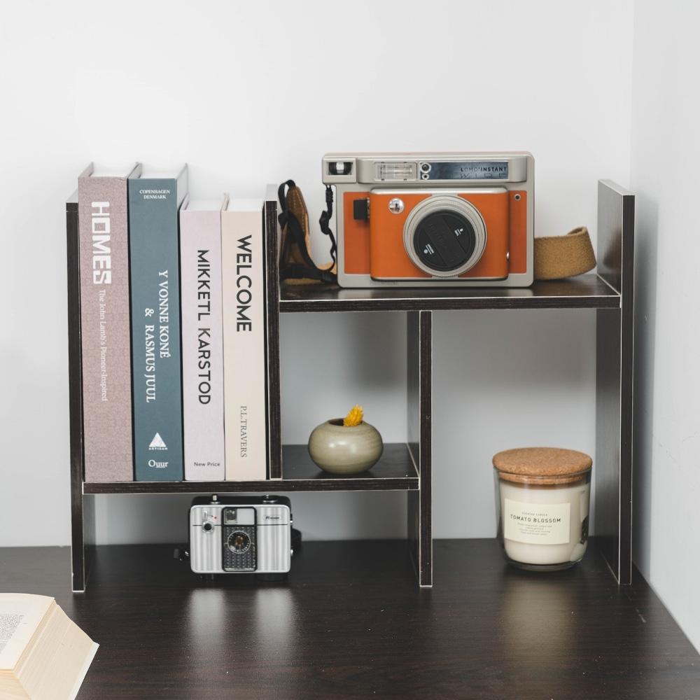 樂嫚妮 H型多用途收納置物書架/桌面/伸縮-深胡桃木色-寬30~62X深15X高35cm