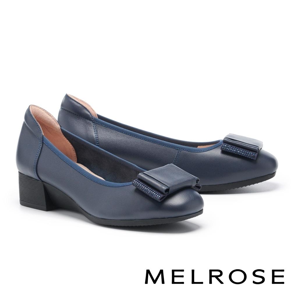 低跟鞋 MELROSE 知性質感鑽飾蝴蝶結全真皮低跟鞋-藍