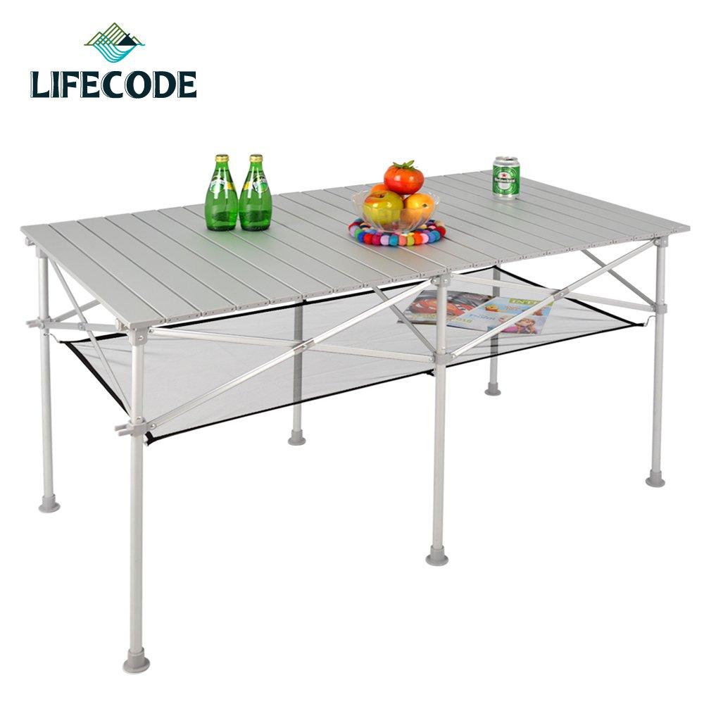 LIFECODE 長型鋁合金蛋捲桌/折疊桌124x70cm(附桌下網+提袋)