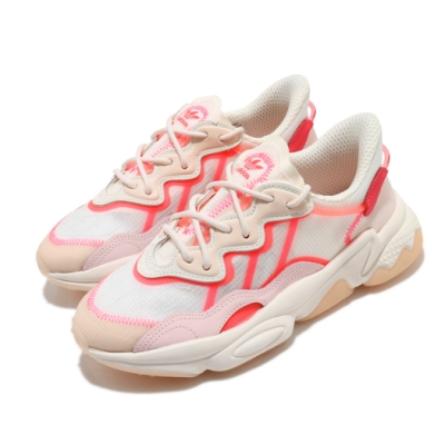 adidas 休閒鞋 Ozweego 厚底 老爹鞋 女鞋 愛迪達 三葉草 穿搭 流行 緩震 米 紅 粉 FY3128