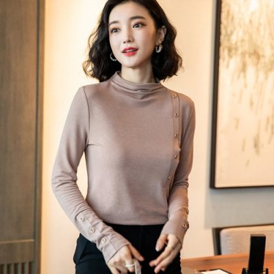 設計所在Lady-長袖T恤修身堆堆領針織衫(二色M-3XL可選)
