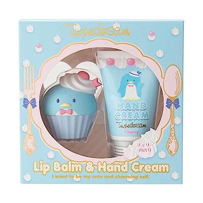 Sanrio 山姆企鵝甜點系香氛保濕造型護唇膏&護手霜禮盒組(櫻桃香)