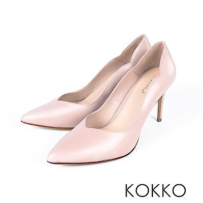 KOKKO - 華麗邂逅波浪V字領口高跟鞋-珊瑚粉