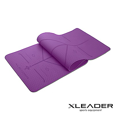 Leader X 環保TPE雙面防滑輔助線瑜珈墊6mm 附收納繩 深紫