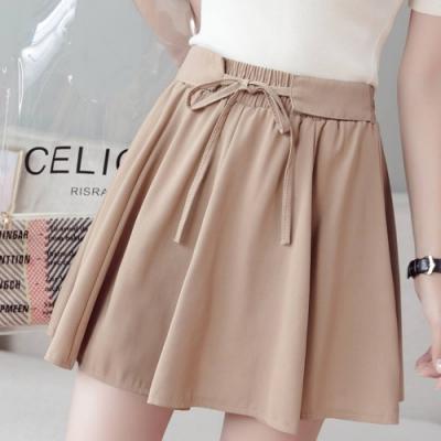 La Belleza假腰帶鬆緊腰綁帶雙層雪紡褲裙(內裡短褲)