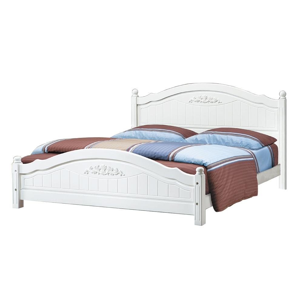 柏蒂家居-艾爾莎白色5尺雙人床架(不含床墊)