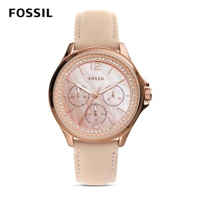 FOSSIL Sadie 錶圈鑲鑽三眼女錶 杏色真皮錶帶 38MM ES4785