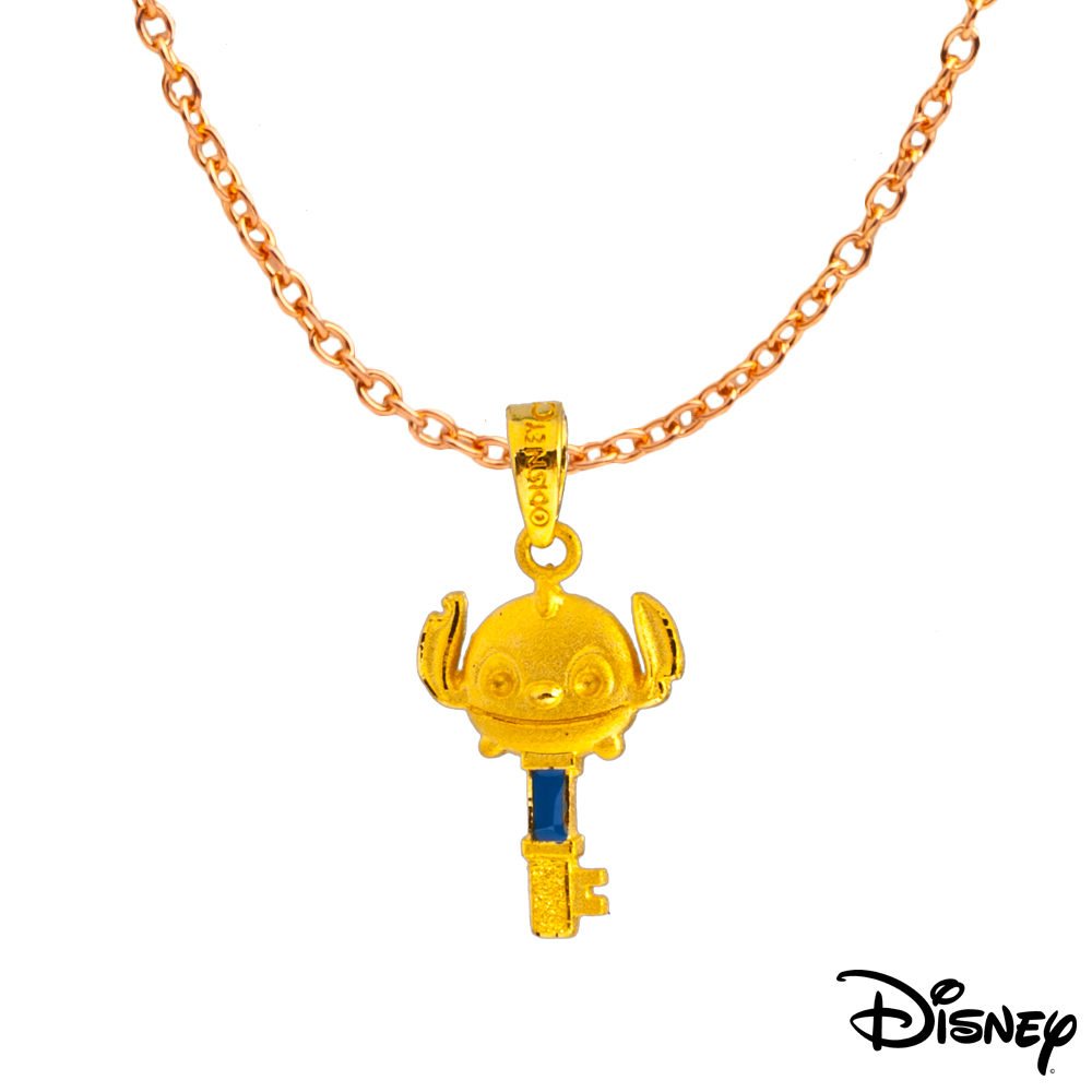 Disney迪士尼系列金飾 黃金/水晶墜子-心鎖史迪奇款 送項鍊