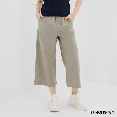 Hang Ten-女裝-WIDE LEG FIT鬆緊腰頭竹節紋九分褲-綠色
