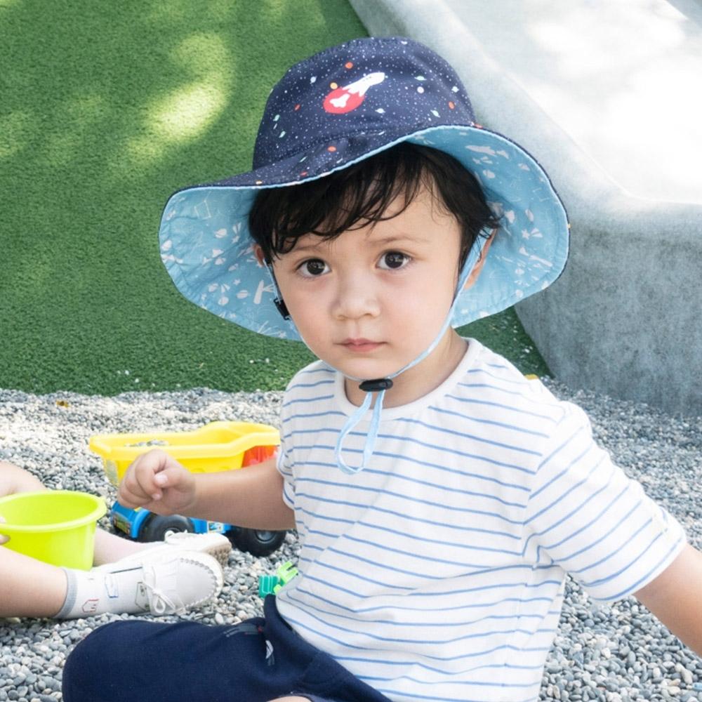 【DabbaKids】瓦拉幼童防曬雙面帽 UPF50+ -星空火箭