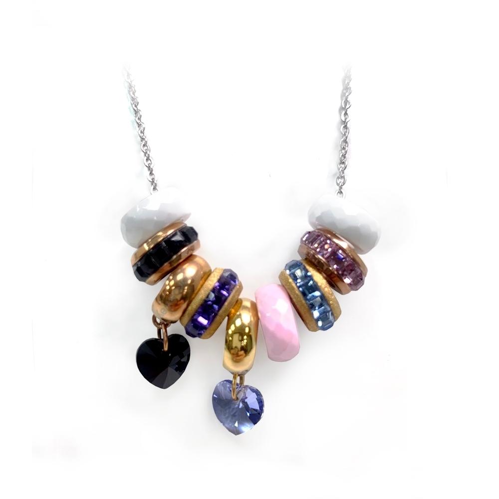 Brosway 施華洛世奇水鑽不鏽鋼項鍊 黑+紫 愛心