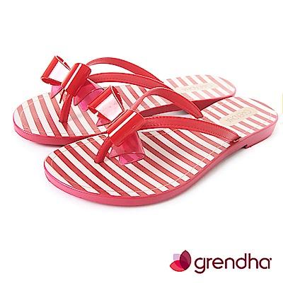 Grendha 海軍風立體蝴蝶結夾腳鞋-紅色