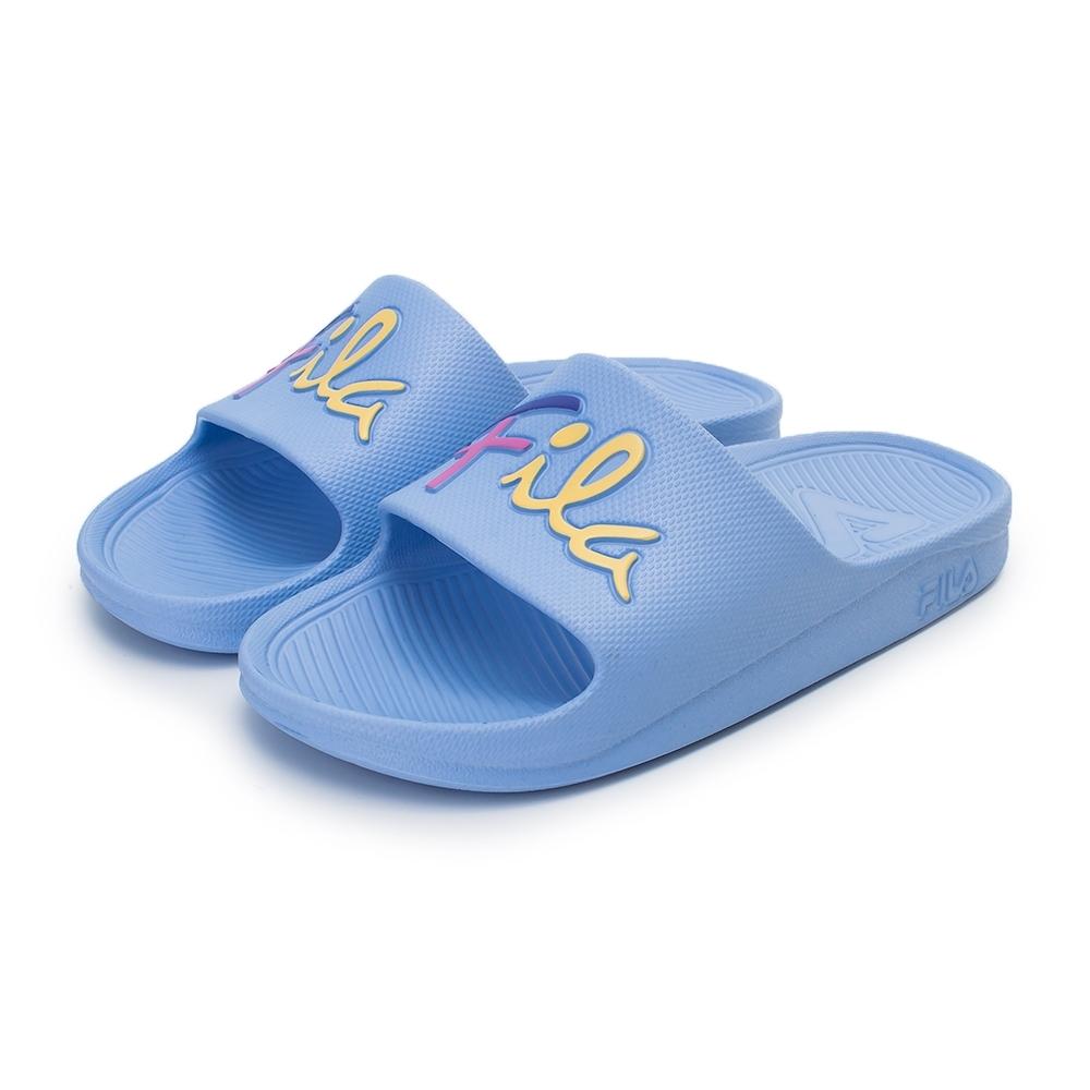 【FILA】輕量防水一片式拖鞋 草寫LOGO 女鞋-粉紫(4-S326V-999)