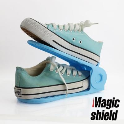 MagicShield 神盾 收納達人馬卡龍四段可調彩色鞋架 16入組
