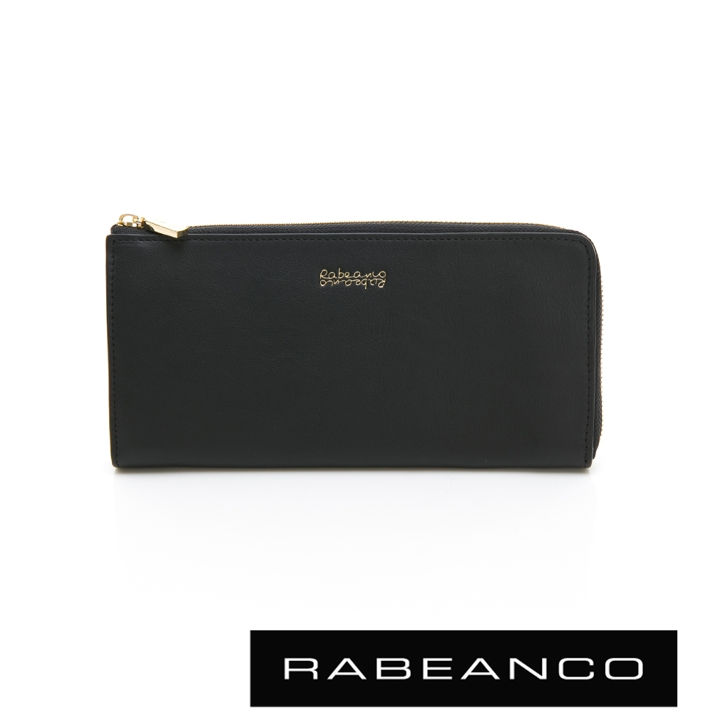 RABEANCO 迷時尚系列L型拉鍊長夾 黑
