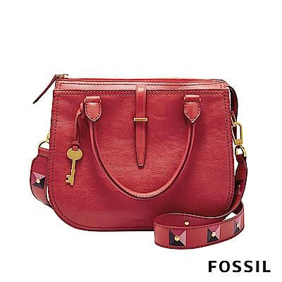 FOSSIL RYDER 真皮圓弧手提/側背兩用包-罌粟紅