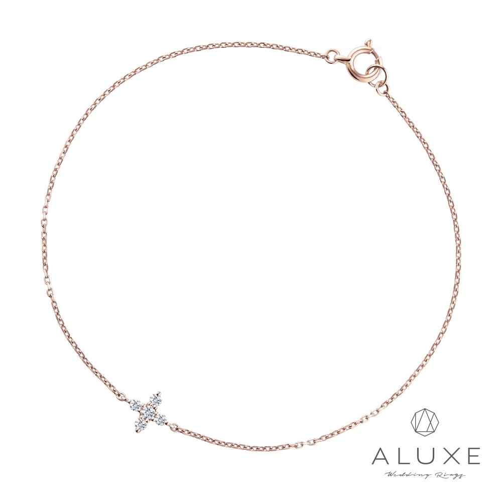 ALUXE 亞立詩 10K金北極星鑽石伸縮叩頭手鍊