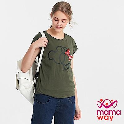 Mamaway 迪士尼米奇&米妮真兩件哺乳上衣-橄綠