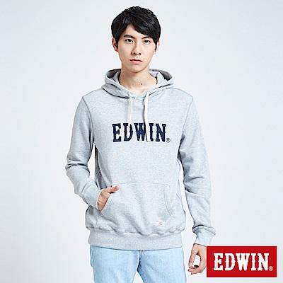 EDWIN 職人手作 繡花LOGO連帽T恤-男-麻灰