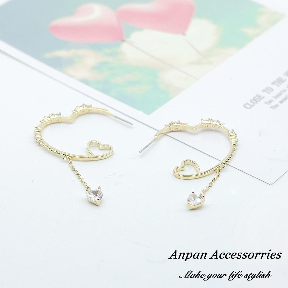 【全館6折ANPAN】925銀針韓東大門邱比特微鑲鑽石愛心圈耳環