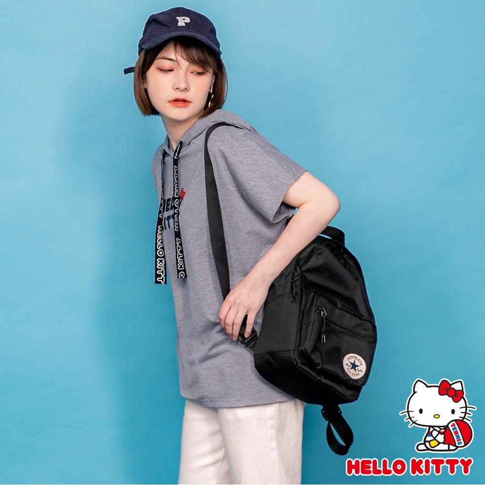運動系列~KITTY文字印花連帽下襬開衩短袖上衣-OB大尺碼