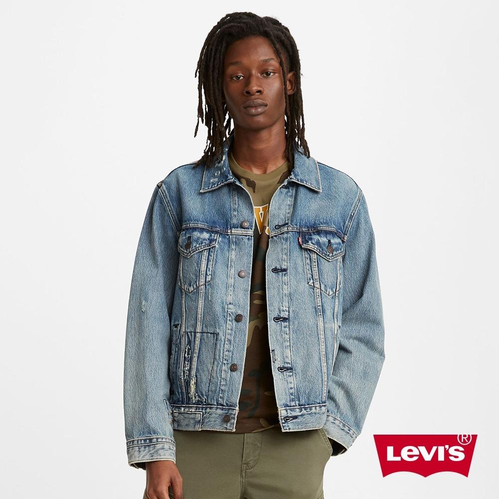 Levis 男款 古著牛仔外套 寬鬆版型 作舊磨損補丁細節 復古水洗