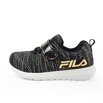 FILA PVC輕量慢跑鞋 黑金 中童(4~6歲) 2-J424U-009