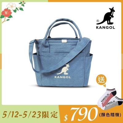 KANGOL 韓版玩色-牛仔手提/斜背托特包-淺藍 KGC1216