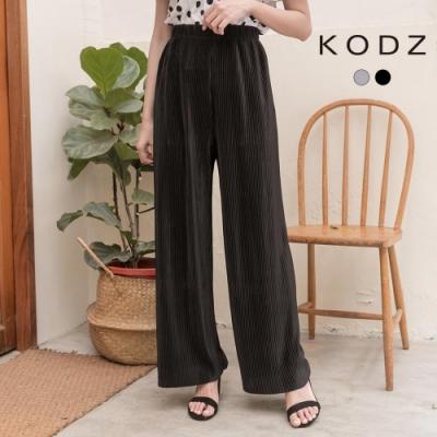 東京著衣-KODZ 法式休閒光澤感百褶壓紋腰鬆緊寬褲(共二色)