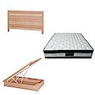綠活居 梅可3.5尺單人床台三式組合(床頭片+後掀床底+正四線涼感獨立筒)五色可選