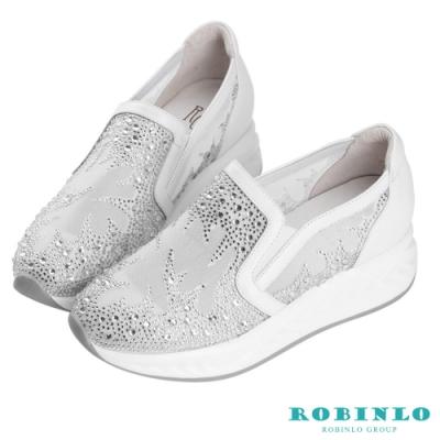 Robinlo 低調立體鑲鑽幸運草牛皮休閒鞋 白色