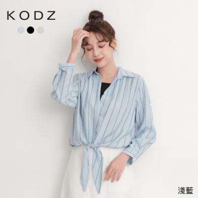 東京著衣-KODZ 法式輕甜多色英文印花腰綁結假兩件上衣-S.M.L