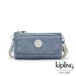 Kipling 淺色丹寧藍翻蓋肩背斜背包-VECKA S