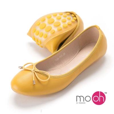 mo.oh-蝴蝶結圓頭舒適豆豆軟皮娃娃鞋-奶油黃