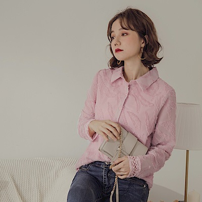 純色羽毛蕾絲花紋布拼接長袖雪紡襯衫/上衣-OB大尺碼