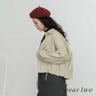 beartwo- 大口袋抽繩短版皮外套(兩色)