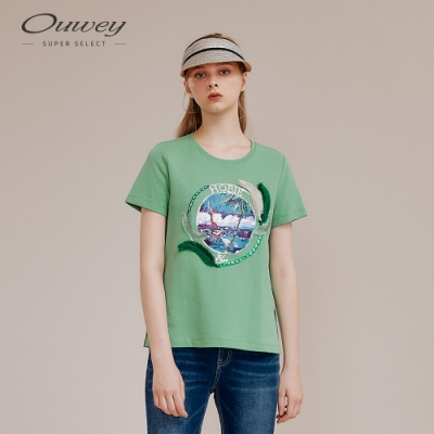 OUWEY歐薇 度假風膠印特殊工藝棉質上衣(綠)