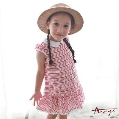 Annys安妮公主-可愛出遊夏日條紋系列圓領蕾絲裙擺半袖洋裝*7153紅