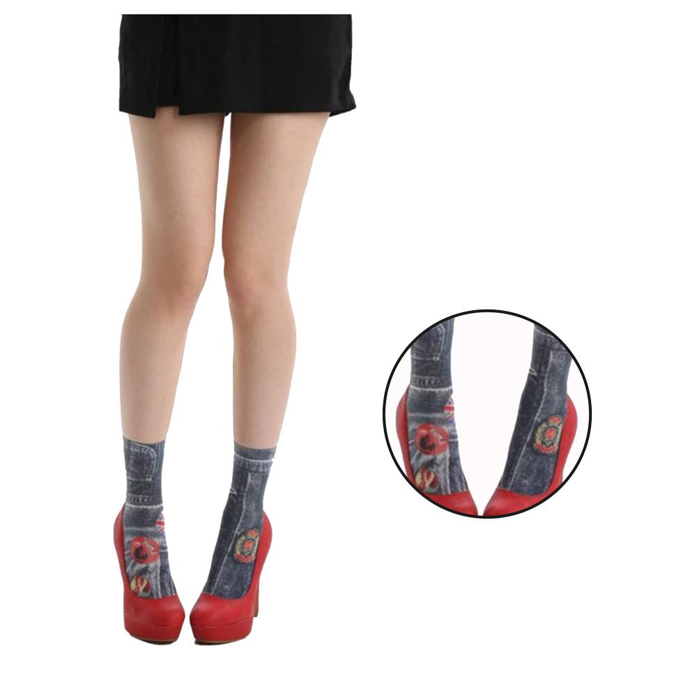 摩達客 英國進口義大利製Pamela Mann 牛仔丹寧花彈性短襪/腳踝襪
